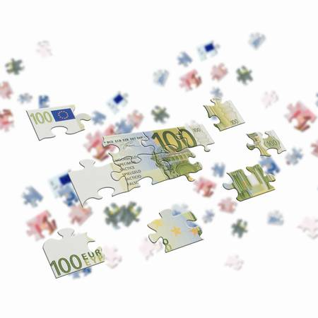 getting together: pieces of euro banknote puzzle getting together Stock Photo