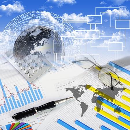 金融とビジネスのコラージュ、表やグラフ