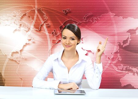 journalist: Portrait of a young businesswoman making presentation Stock Photo
