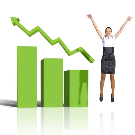 active arrow: Young woman jumping up against financial charts