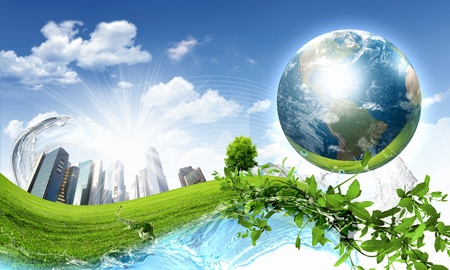 collage of green nature landscape with planet Earth above it photo