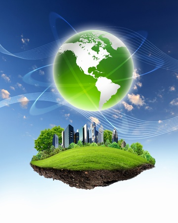 collage of green nature landscape with planet Earth above it Stock Photo - 12804498
