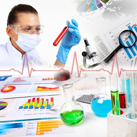 scientific equipment: Image of a doctor working in labortory and different scientific equipment Stock Photo