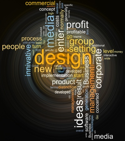 collage of different words on a dark background on business topics photo