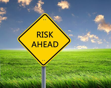 Picture of yellow road sign warning about risk ahead Stock Photo - 12924090