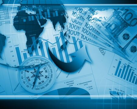 geography background: Global financial color charts and graphs illustration Stock Photo