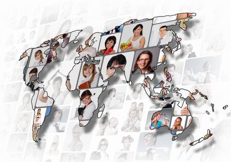 World map background with people portraits on it Stock Photo - 12923903
