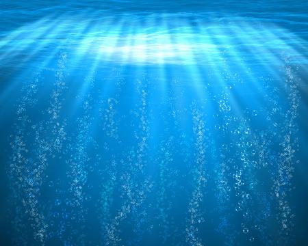fond marin: Illustration de sous-marin de la mer bleu avec des bulles d'air Banque d'images