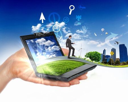human hand holding notebook and nature landscape in it Stock Photo - 12923755