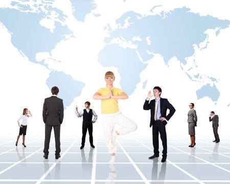 World map and people as symbol of social network Stock Photo