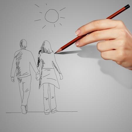 enamorados caricatura: El hombre y la mujer como un coup� felices juntos