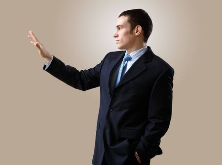 Portrait of a man in business wear making presentation Stock Photo - 12924066