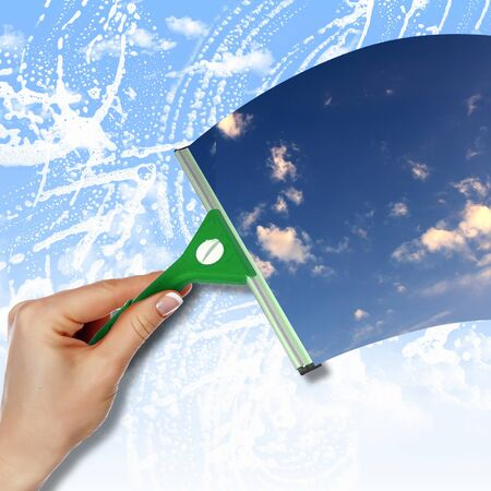 cartoon cleaner: Hand cleaning window with blue sky and white clouds