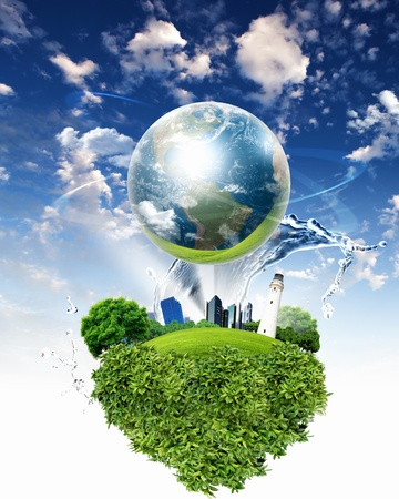 business environment: collage of green nature landscape with planet Earth above it