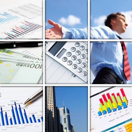 Collage of financial and business charts and graphs Stock Photo - 13034198