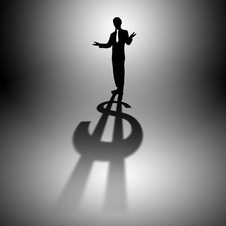 Image of a business man with a shadow shaped as a currency sign photo