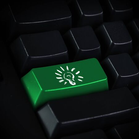 Computer keyboard with light bulb symbol on it Stock Photo - 13146245