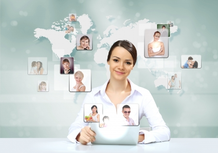 social system: Collage with a business person against technology background Stock Photo