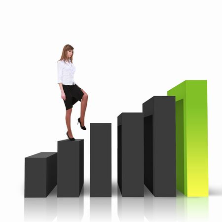 Image of a businessman standing on the top of financial charts photo