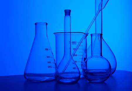 Image of chemistry laboratory equipment and glass tubes photo