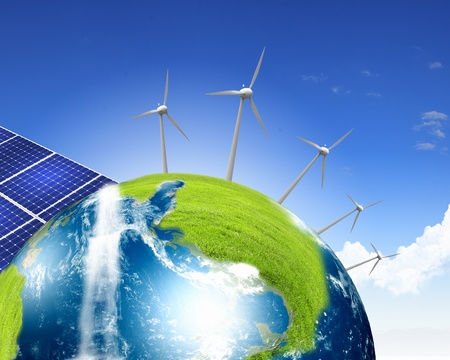 alternative energy source: Collage with solar batteries as alternative source of energy
