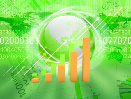 money sphere: Global financial color charts and graphs illustration Stock Photo