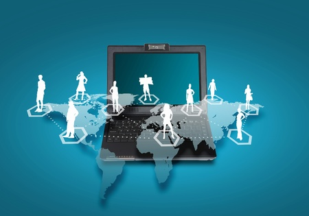 Image of laptop computer with symbols of network and communication photo