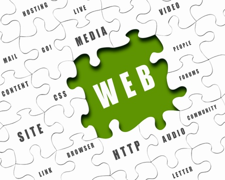 web tools: pieces of puzzle with Internet words on it