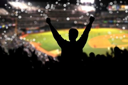 football silhouette: Immagine di uno stadio pieno con sagome di fan in primo piano Archivio Fotografico