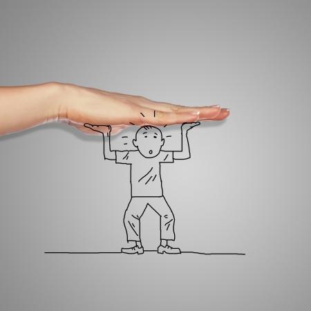 expresion corporal: Ilustraci�n de un hombre en situaci�n de peligro bajo la amenaza