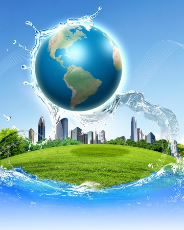 collage of green nature landscape with planet Earth above it Stock Photo - 13197267