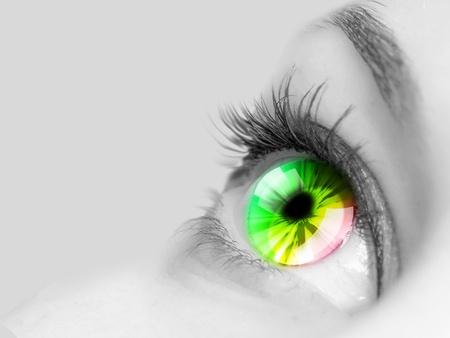 Colour image of a human eye close-up photo