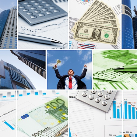 business finance: Collage of financial and business charts and graphs