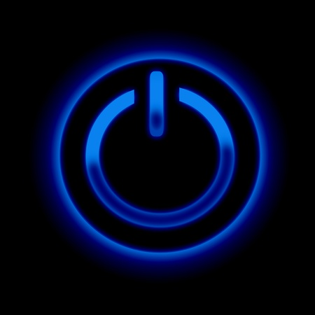 power failure: Picture of a power button against black background Stock Photo