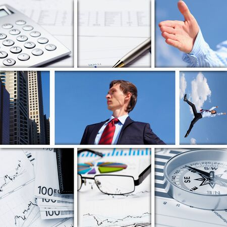 Business background collage of some business pictures photo