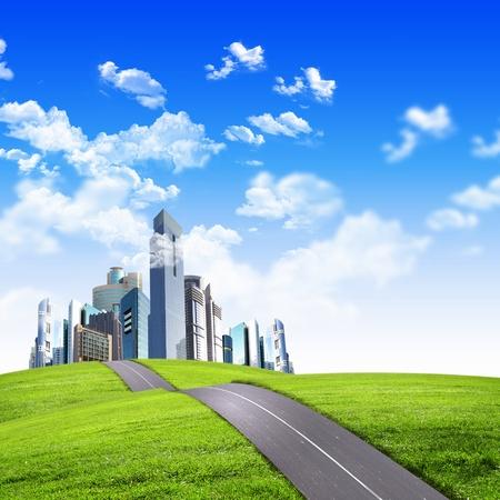 the center of the city: Imagen de una ciudad moderna rodeada de naturaleza, paisaje,