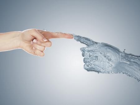 limpieza: Imagen de dos manos del hombre toc�ndose Foto de archivo