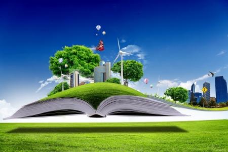 Libro abierto con el mundo de la naturaleza verde que sale de sus páginas