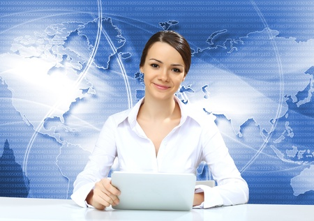 Portrait of a young businesswoman making presentation photo