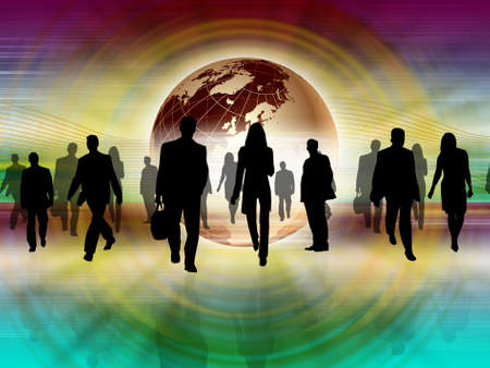 Illustration of a crowd of business people against color background illustration