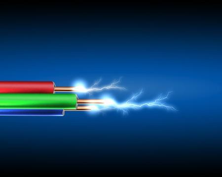 redes electricas: El cable el�ctrico con sparkls electricidad como s�mbolo de poder Foto de archivo