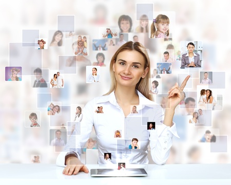 corporate social: Businesswoman making presentation against social network bacjkground
