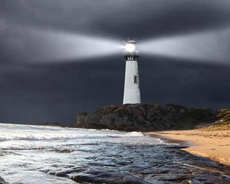 beacons: Collage with lighthouse at night with beam of light Stock Photo