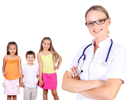 Friendly female doctor and family with children on the background Stock Photo - 13200614