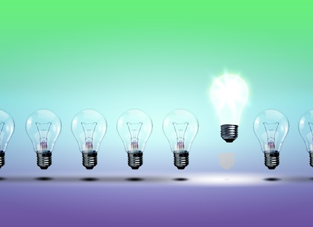 Image of a row of electric bulb with one different from the others photo