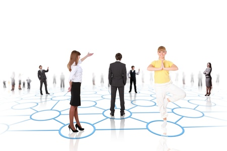 social gathering: Human models connected together in a social network pattern Stock Photo