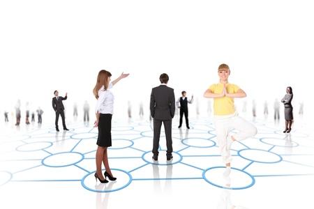 Mod�les humains reli�s entre eux selon un motif de r�seau social Banque d'images