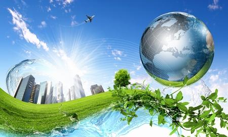 위에 행성 지구와 녹색 자연 풍경의 콜라주