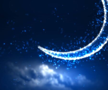Dark blue night sky background with moon and twinkling stars Stock Photo - 13220911
