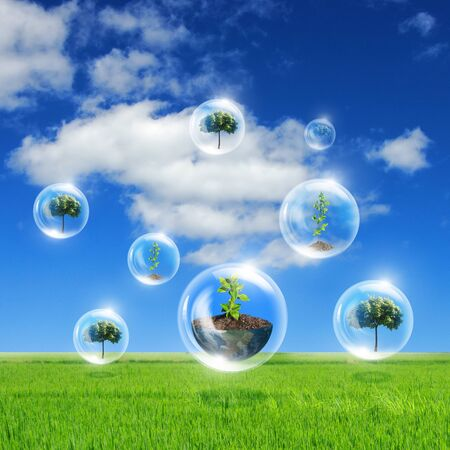 Illustration ofair bubbles with green plant inside as symbol of nature protection Stock Illustration - 13225765